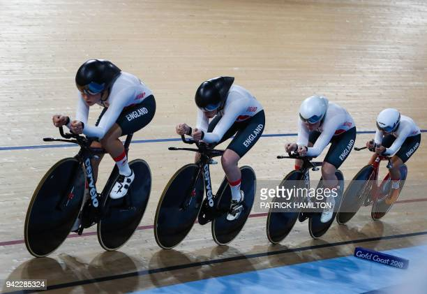 TOPSHOT England's team competes during the Women's 4000m Team Pursuit Finals Bronze cycling event during the 2018 Gold Coast Commonwealth Games at...