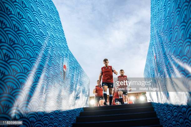 England's team Owen Farrell leads the team off the pitch after the warm up prior to the Rugby World Cup 2019 SemiFinal match between England and New...