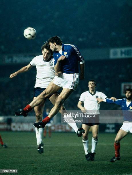 England's Terry Butcher challenges French defender Yvon Le Roux in the air during the International friendly at the Parc des Princes Stadium in Paris...