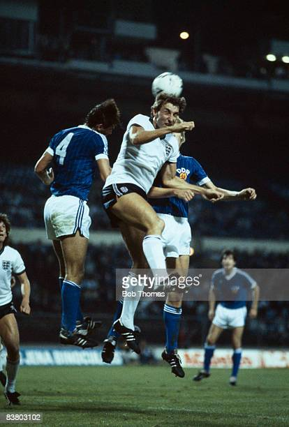 England's Terry Butcher wins the ball in the air during the International match against East Germany at Wembley Stadium 12th September 1984 England...