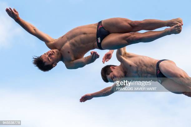 England's Thomas Daley and England's Daniel Goodfellow compete during the men's synchronised 10m platform diving in the 2018 Gold Coast Commonwealth...