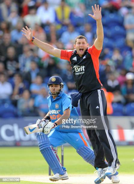 England's Tim Bresnan appeals unsuccessfully for the dismissal of India's Parthiv Patel during the fifth oneday international cricket match between...
