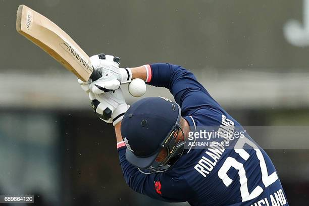 TOPSHOT England's Toby RolandJones gets hit by a ball whilst attempting to bat during the third OneDay International cricket match between England...