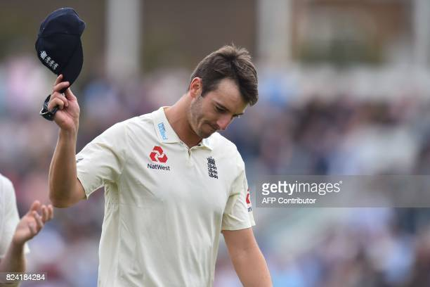 England's Toby RolandJones reacts after taking the wicket of South Africa's Temba Bavuma his fifth wicket of the Innings on the day 3 of the third...