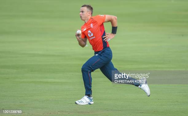 England's Tom Curran bowls during the third and final Twenty20 international cricket match between South Africa and England at the Super Sport Park...