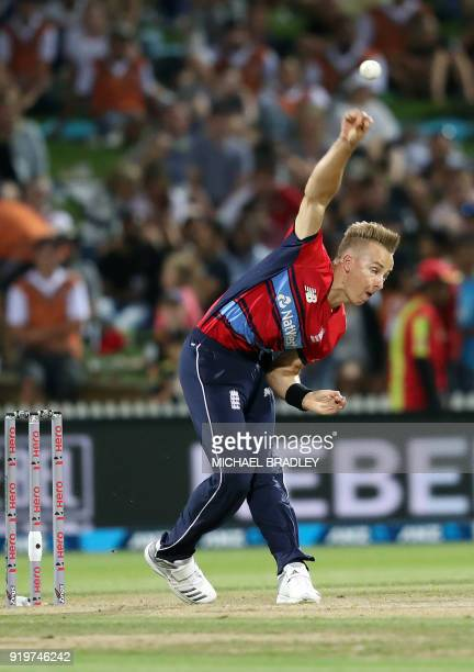 England's Tom Curran bowls during the Twenty20 Tri Series international cricket match between New Zealand and England at Seddon Park in Hamilton on...