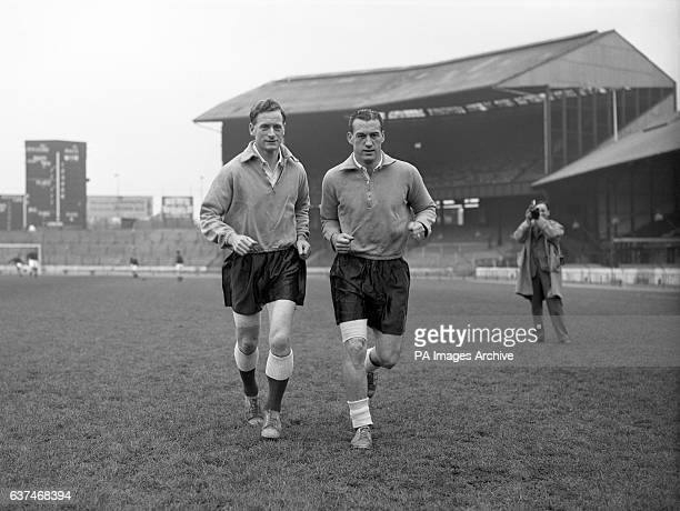 England's Tom Finney and Nat Lofthouse training at Stamford Bridge