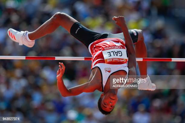 TOPSHOT England's Tom Gale competes in the athletics men's high jump qualifying round during the 2018 Gold Coast Commonwealth Games at the Carrara...
