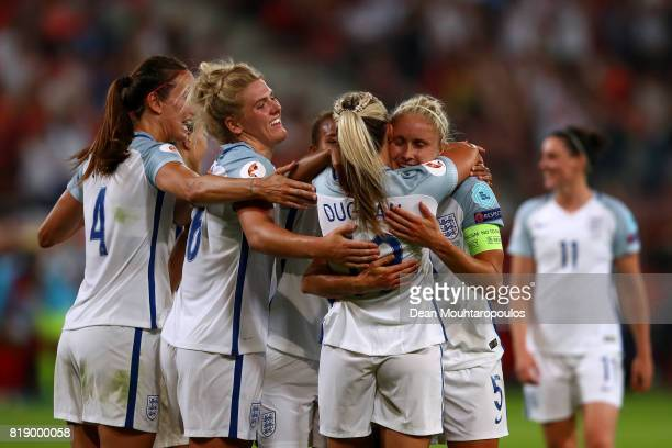 England's Toni Duggan celebrates with Steph Houghton and team mates after scoring the final goal of the game during the UEFA Women's Euro 2017 Group...