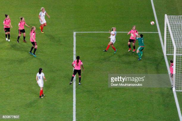England's Toni Duggan scores a header and the final goal of the game during the UEFA Women's Euro 2017 Group D match between England and Scotland at...