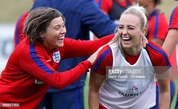England's Toni Duggan with Francesca Kirby during the training session at St George's Park Burton