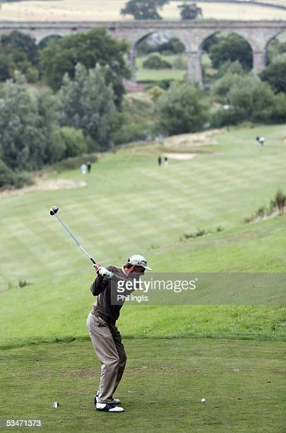 England's Tony Charnley drives from the 14th tee during the second round of the Charles Church Scottish Seniors Open at The Roxburghe on August 27,...