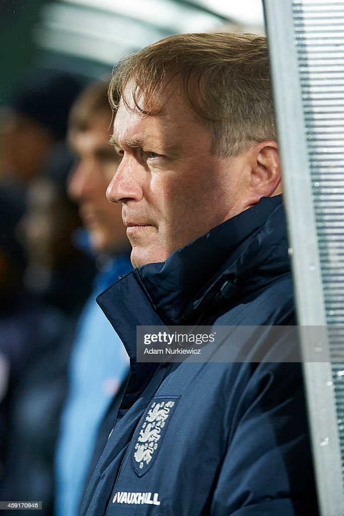 England's trainer coach Neil Dewsnip looks on the game during the international friendly match Under-18 between Poland and England on November 17, 2014 on the MOSiR Stadium in Gdansk, Poland.