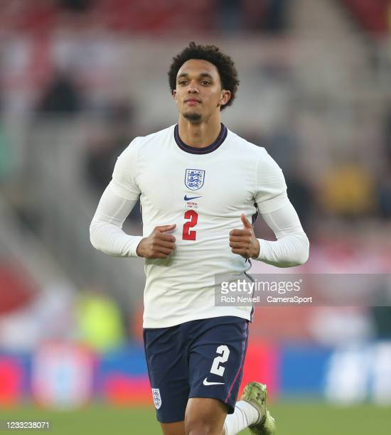 England's Trent Alexander-Arnold during the international friendly match between England and Austria at Riverside Stadium on June 2, 2021 in...