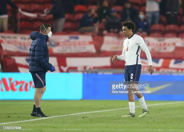 England's Trent Alexander-Arnold is forced off with an injury during the international friendly match between England and Austria at Riverside...