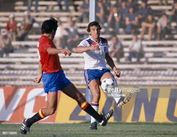 England's Trevor Brooking plays the ball past a Spanish defender during the UEFA European Championship match between England and Spain in Naples 18th...
