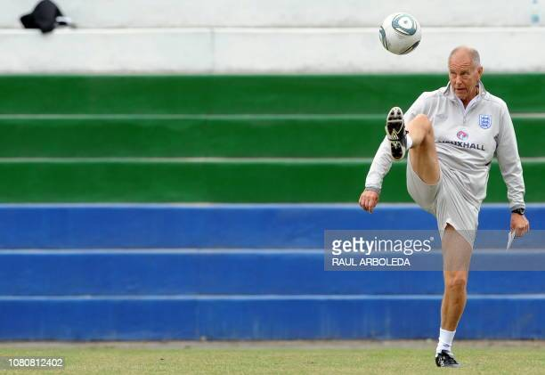 England's U20 football team coach Brian Eastick controls the ball during a training session in Medellin Antioquia department Colombia on July 28 2011...