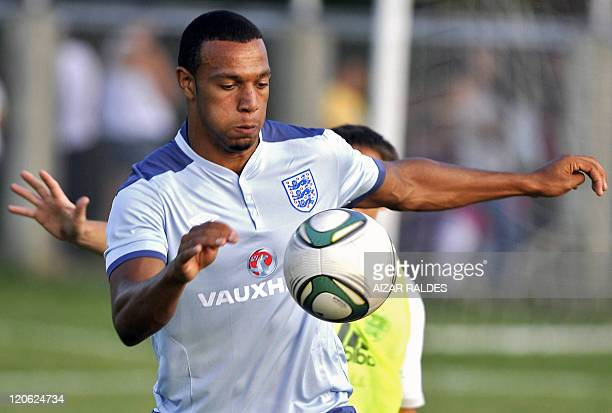 England's U20 footballer Matthew Phillips controls the ball during a session training in Armenia Quindio department Colombia on August 7 2011 England...