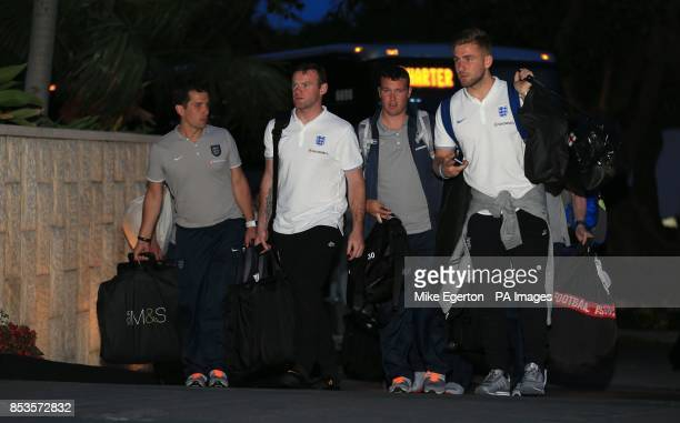 England's Wayne Rooney and Luke Shaw arrive at the Mandarin Oriental Hotel in Miami USA