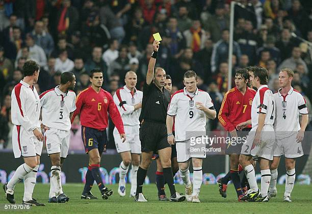 England's Wayne Rooney is shown a yellow card during the International Friendly match between Spain and England on November 17 2004 at the Estadio...