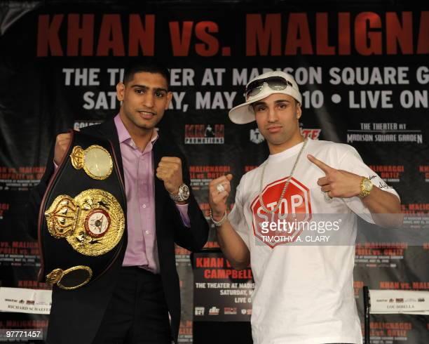 "England's WBA Super Lightweight World Champion Amir Khan and former world title holder Paulie ""The Magic"" Malignaggi from New York pose after a press..."