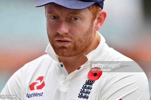 England's wicketkeeper Jonny Bairstow wears a poppy for Remembrance Day prior to the last of a fourday Ashes tour match against Cricket Australia XI...