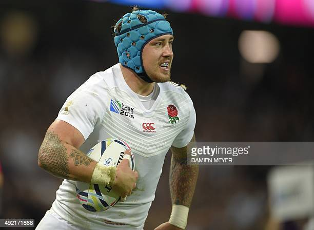 England's wing Jack Nowell runs in his third and England's ninth try during the Pool A match of the 2015 Rugby World Cup between England and Uruguay...