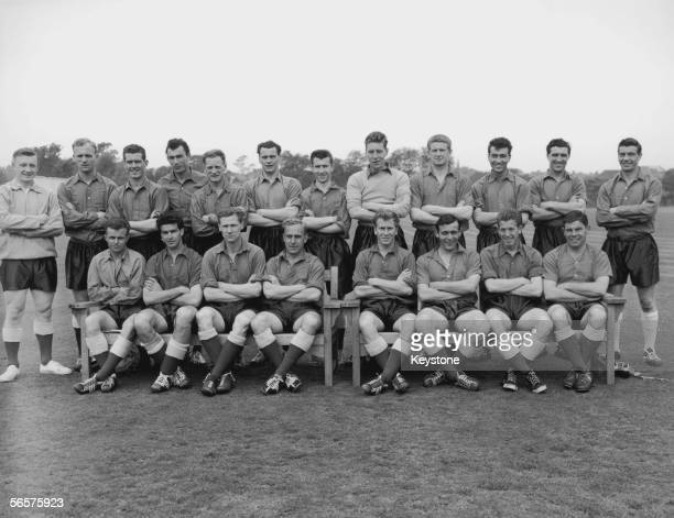 England's World Cup squad at a training session at the Bank of England ground in Roehampton 29th May 1958 Back row left to right Edward Hopkinson Don...