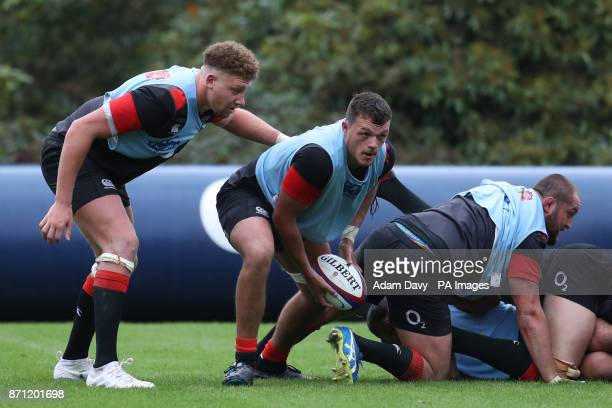 England's Zach Mercer and Nick Isiekwe during the training session at Pennyhill Park Bagshot