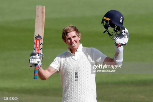 England's Zak Crawley celebrates reaching his double century on the second day of the third Test cricket match between England and Pakistan at the...