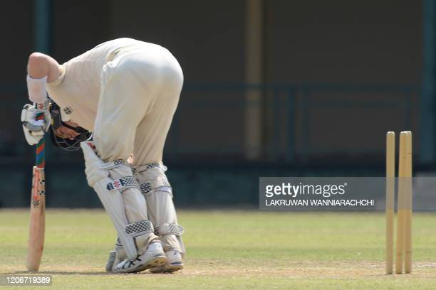 England's Zak Crawley gets dismissed during the opening day of a fourday practice match between Sri Lanka Board President's XI and England at the P...