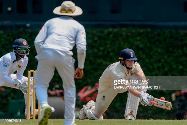 England's Zak Crawley plays a shot during the opening day of a fourday practice match between Sri Lanka Board President's XI and England at the P...
