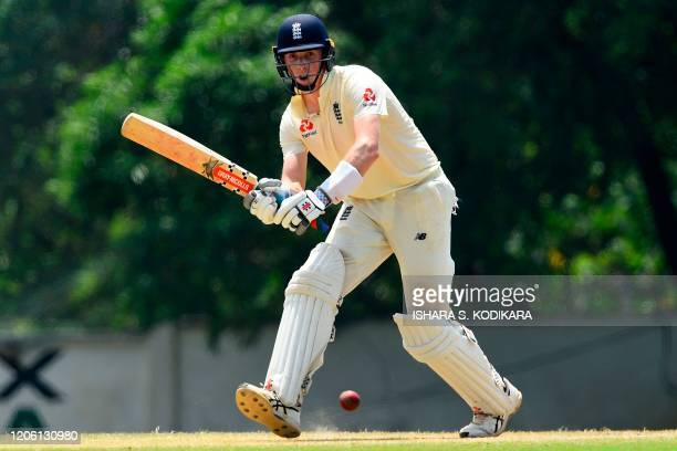 England's Zak Crawley plays a shot during the third day of a threeday practice match between Sri Lanka Cricket XI and England at the Marians Cricket...