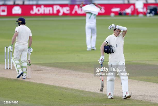 England's Zak Crawley walks back to his crease during day one of the third Test match at the Ageas Bowl, Southampton.
