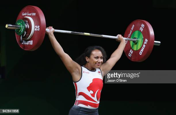 England's Zoe Smith competes during the Women's 63kg Weightlifting Final on day three of the Gold Coast 2018 Commonwealth Games at Carrara Sports and...