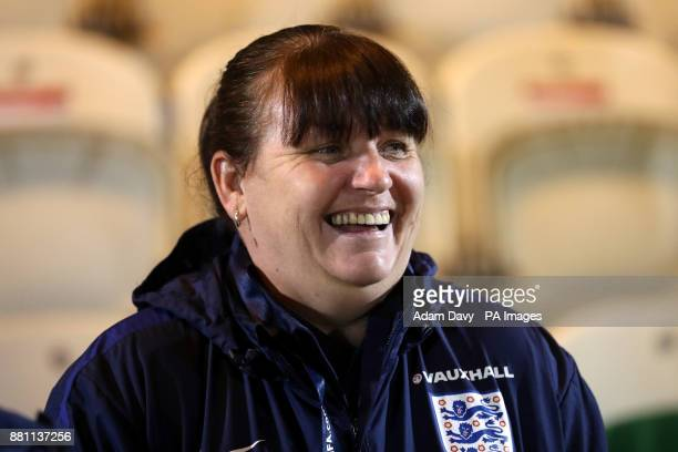 Englang manager Mo Marley during the 2019 Women's World Cup Qualifying Group One match at the Western Holmes Community Stadium Colchester