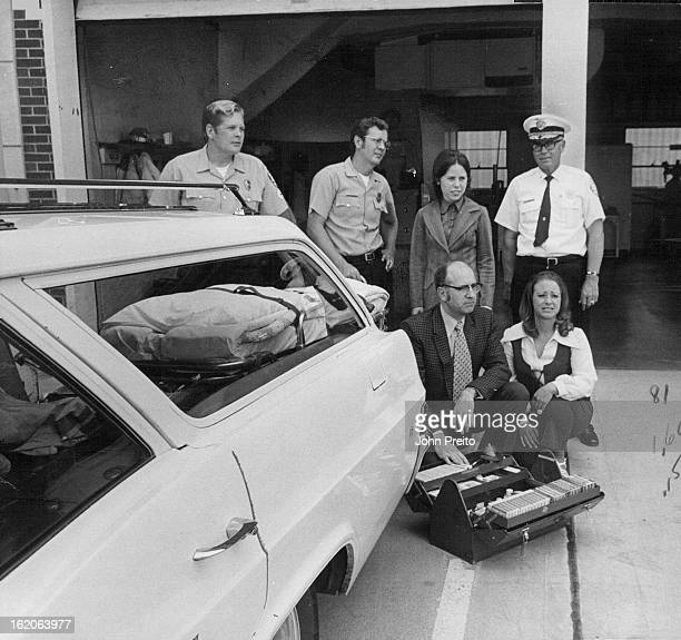 JUN 16 1972 JUN 23 1972 JUN 28 1972 Englewood Colorado Fire Department Fire Rescue Wagon Equipment Displayed Persons pictured are Dr William Truitt...