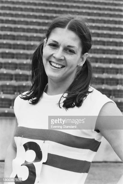 English 100 metres hurdler Judy Vernon at an athletics event, UK, 15th June 1972.