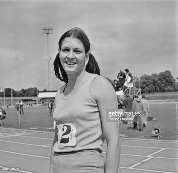 English 100 metres hurdler Judy Vernon at Crystal Palace Athletics Stadium in London, UK, 5th June 1973.