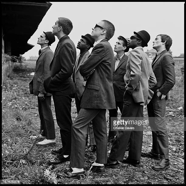 English 2 Tone ska revival band The Specials in Coventry during a shoot for the cover of their debut album 1979 Left to right Horace Panter Terry...