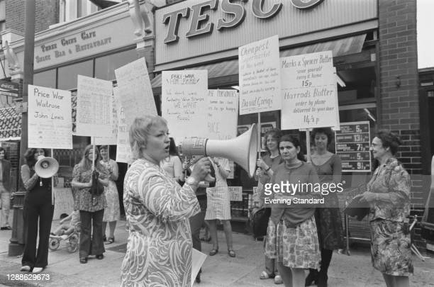 English activist Erin Pizz addresses a protest by housewives against rising food prices, UK, July 1971.