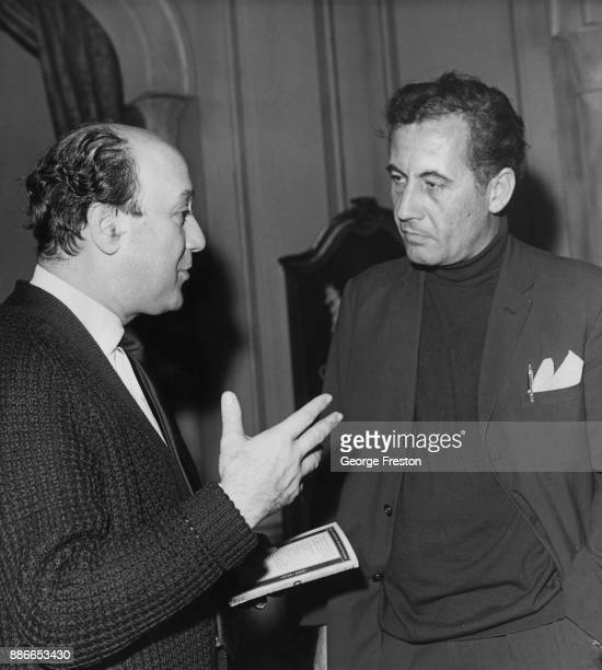 English actor Alan Browning with director Herbert Wise during rehearsals for a Leatherhead Theatre Company production of Shakespeare's 'King Lear' at...