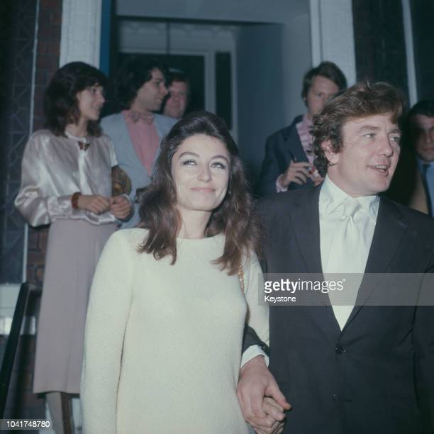 English actor Albert Finney and actress Anouk Aimée during their wedding in London UK 7th August 1970