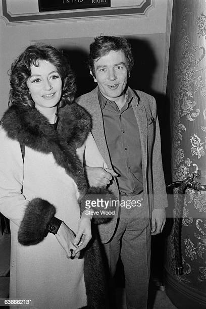 English actor Albert Finney and his wife French actress Anouk Aimée at the Apollo Theatre in London 24th April 1971