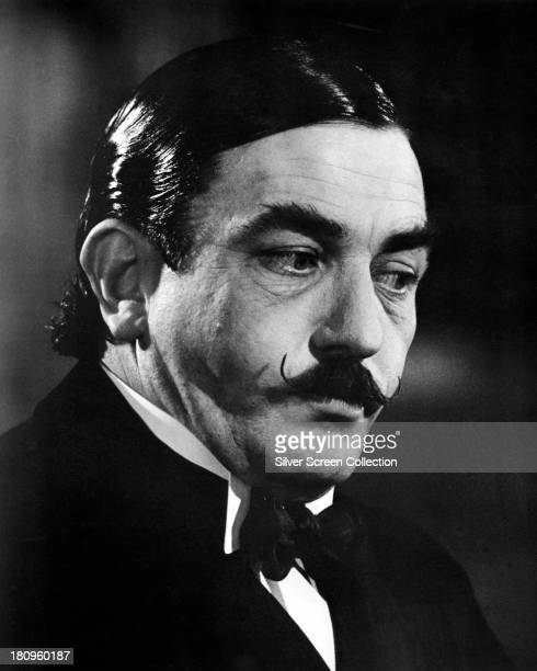 English actor Albert Finney, as Hercule Poirot, in 'Murder On The Orient Express', directed by Sidney Lumet, 1974.