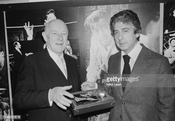 English actor Alec Guinness with British theatre producer Michael Codron UK 11th January 1980
