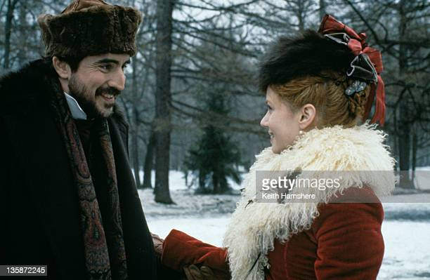 English actor Alfred Molina as Levin and actress Mia Kirshner as Kitty in the film 'Leo Tolstoy's Anna Karenina' 1997 The movie was filmed on...