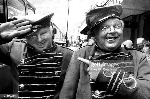 English actor and comedian Benny Hill poses with his waxwork outside Madame Tussaud's in London 22nd May 1986 Both are dressed as Hill's popular TV...