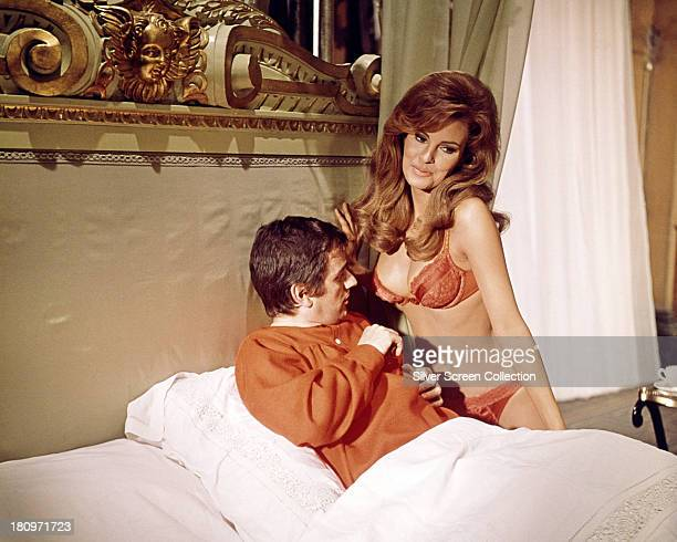 English actor and comedian Dudley Moore as Stanley Moon and American actress Raquel Welch as the sin of Lust personified in 'Bedazzled' directed by...