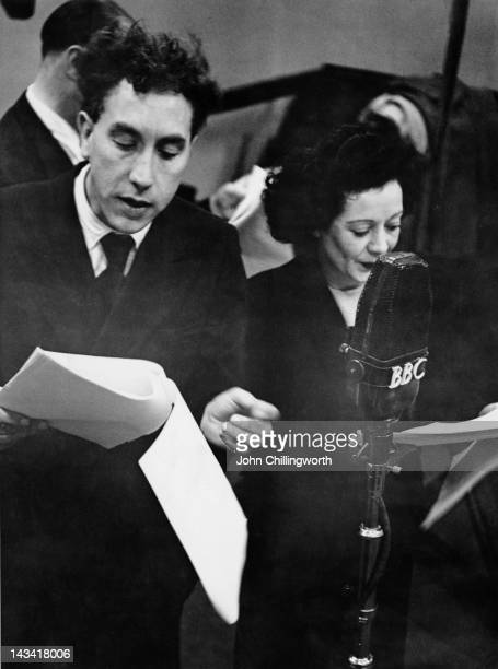 English actor and comedian Frankie Howerd performing in a radio studio with actress Marjorie Holmes May 1952 Original publication Picture Post 5866...